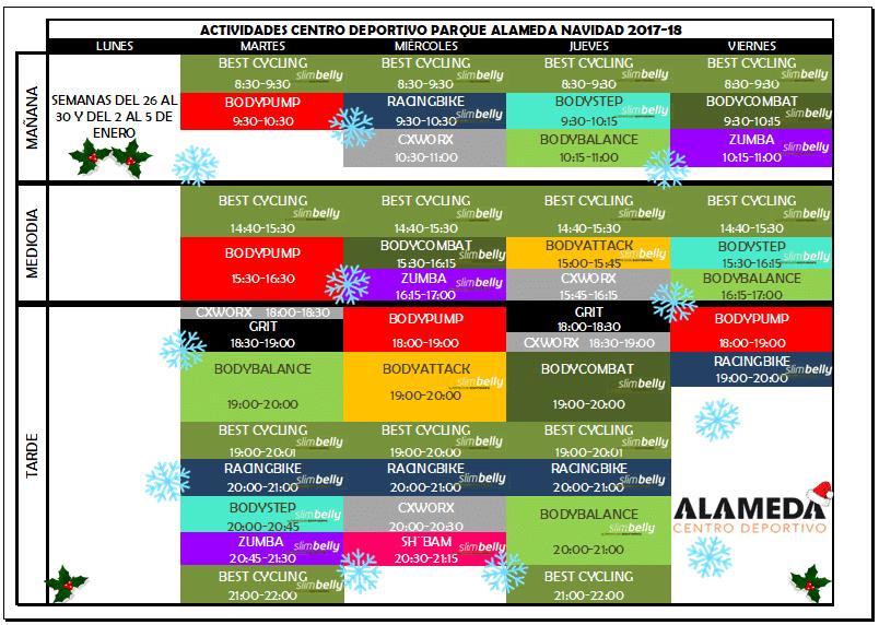 Clases Colectivas navidad 2017-2018